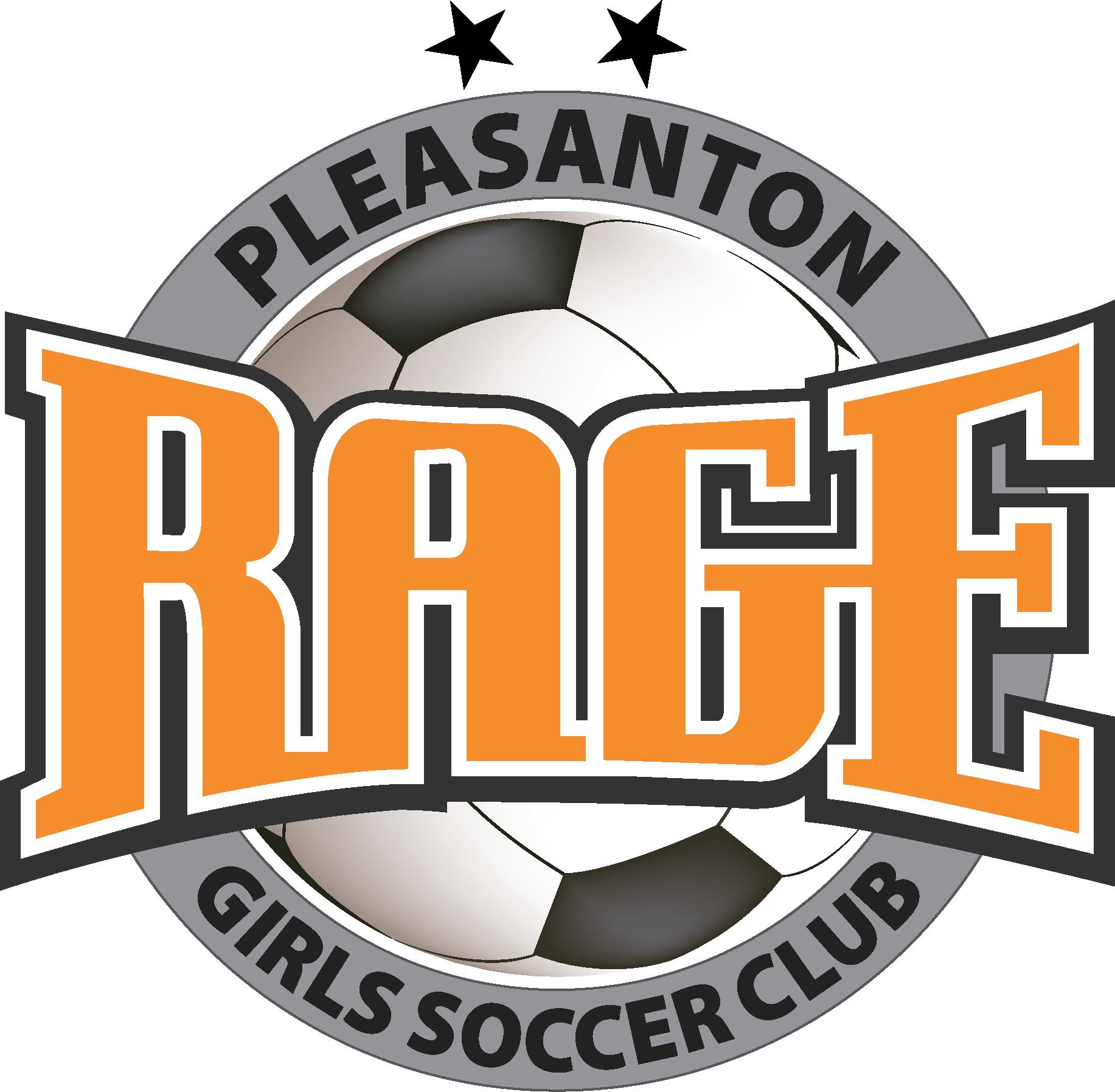 Pleasanton RAGE Girls Soccer Club Logo